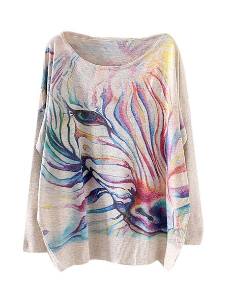 Scoop шеи животных печати негабаритных синтетические женские пуловеры
