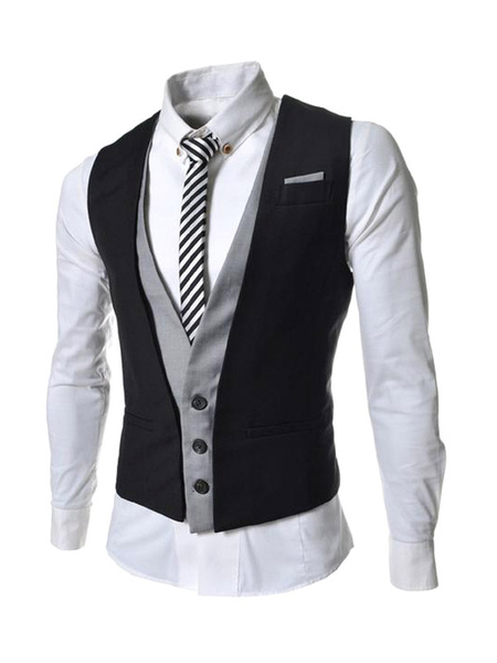 2014 Newest Daily Casual Cotton Two-Tone Casual Men's Fake 2 Piece Vest фото