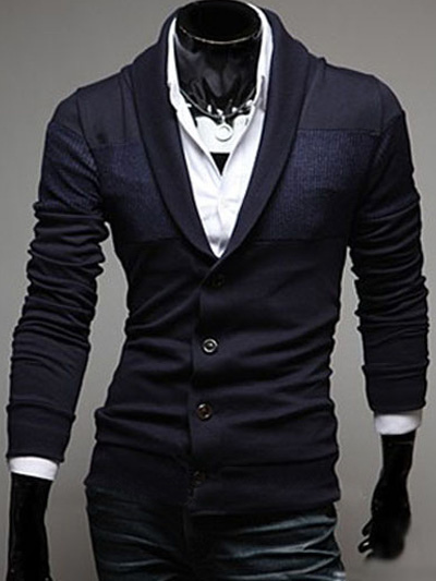 Cotton Shawl Neck Cardigan with Long Sleeve in Regular Fit фото