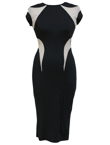 Two-Tone Short Bodycon Dress фото
