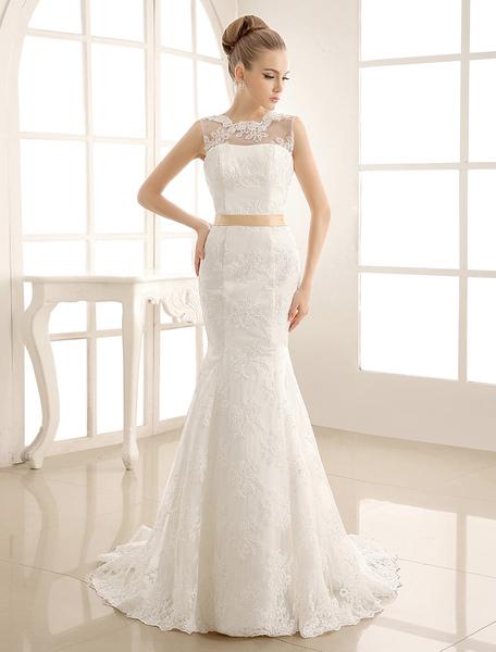 Mermaid Jewel Neck Bridal Wedding Gown With Sash Milanoo