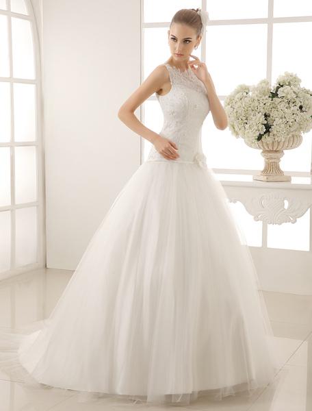 Jewel Neck Bridal Wedding Dress With Beading Flowers фото