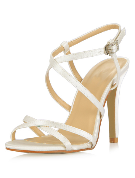 Ivory Stiletto Heel Bride's Sandals With Stripes фото
