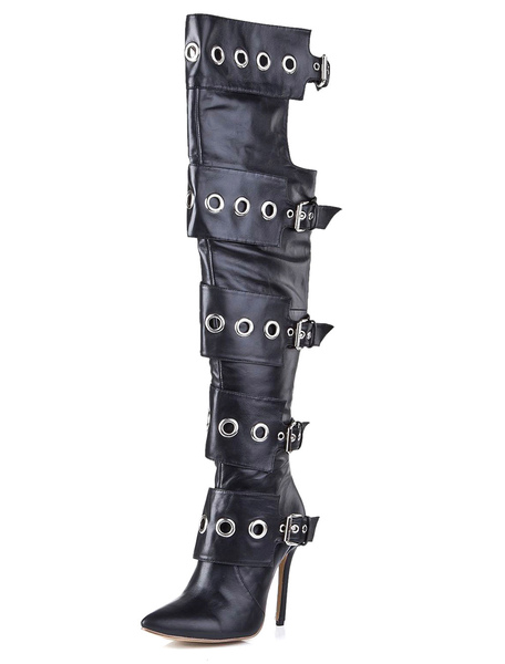 Black Pointed Toe Cowhide Buckled Over the Knee Boots фото