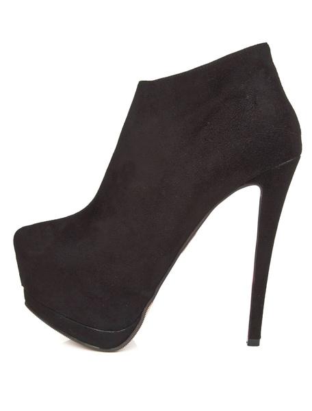 Black Almond Toe Stiletto Heel High-cut Booties фото