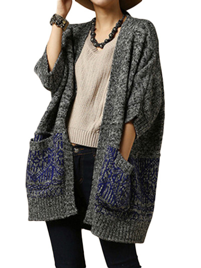 Half Sleeve Long Knitted Cardigan Milanoo