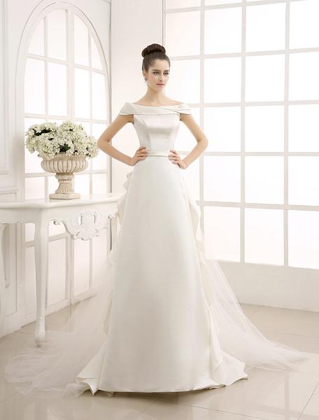 A-Linie-Brautkleid mit Carmenausschnitt in Elfenbeinfarbe Milanoo