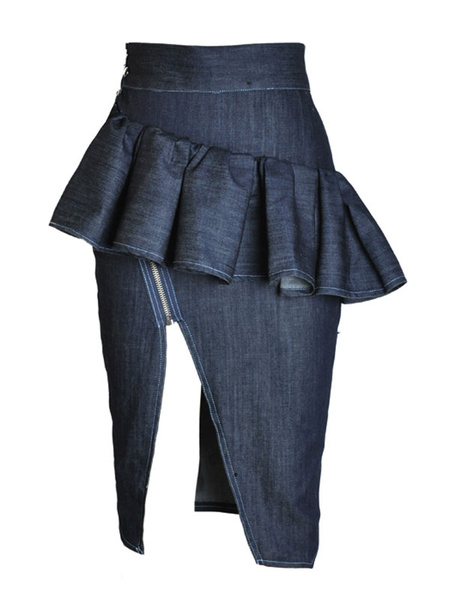 Ruffled High Split Denim Skirt фото