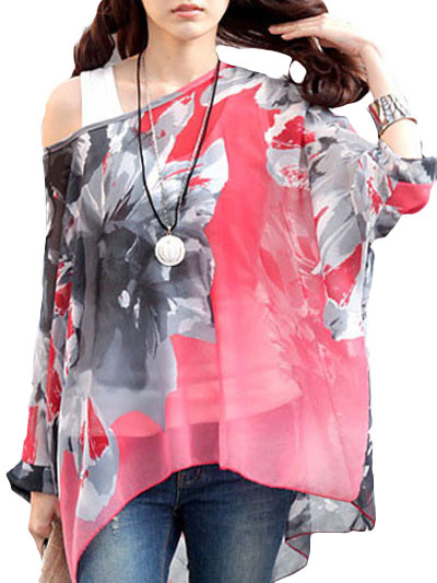 One-Shoulder Floral Print Blouse фото