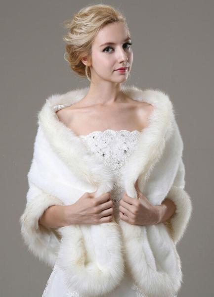 Ivory Faux Fur Wedding Shawl For Bride фото