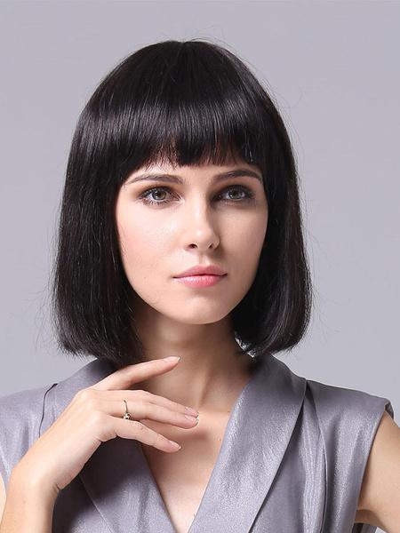 Shoulder Length Straight Human Hair Wigs Milanoo