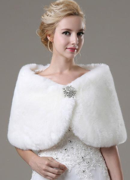 Faux Fur Wedding Shawl with Rhinestones Decor фото