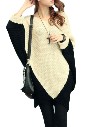 Batwing Sleeve Oversized Pullover Sweater фото