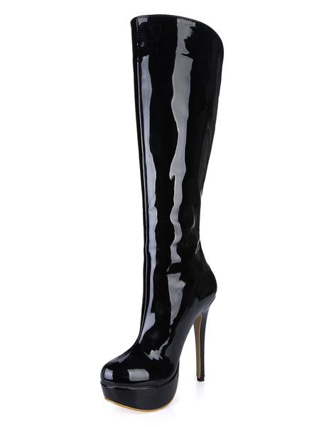 Stiletto Heel Patent PU Leather Knee Length Boots Milanoo