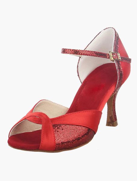 Red Open Toe High Heel Ballroom Shoes фото
