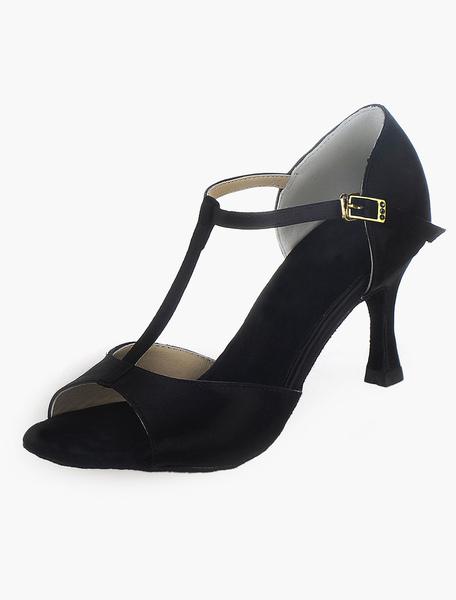 Black Silk and Satin Open Toe Ballroom Shoes фото