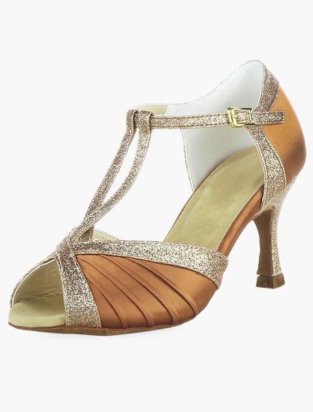 Bronze T-strap Flared Heel Latin Shoes фото