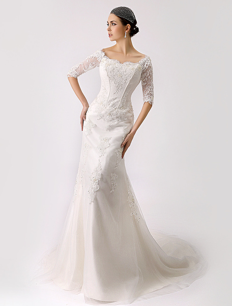 2017 Vintage Inspired Off the Shoulder Mermaid Lace Wedding Gown Milanoo фото