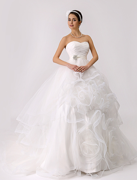 Strapless Tiered Wedding Gown with Embellished Sash and Flange Skirt фото