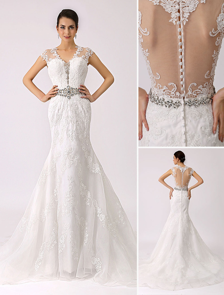 V Neck Trumpet Lace Wedding Dress with Sheer Back Milanoo фото