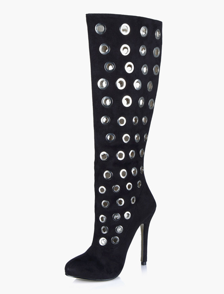 Black Nets Mid Calf Boots фото