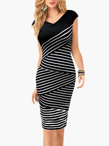 Striped V-Neck Vintage Dress
