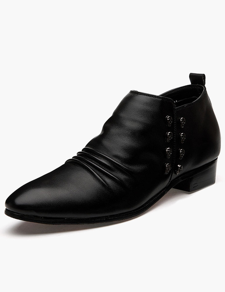 Pointed Toe Skull Pattern PU Leather Dress Shoes фото