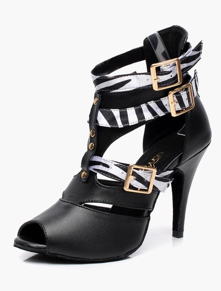 Black Buckled Gladiator Ballroom Shoes Milanoo