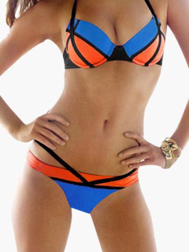 Color Block Push Up Halter Bathing suit фото