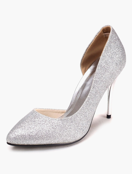 Sequined Pointy Toe Stiletto Heel Pumps фото
