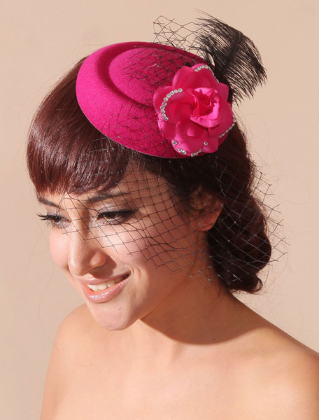 Handmade Fuchsia Fascinator with Feather