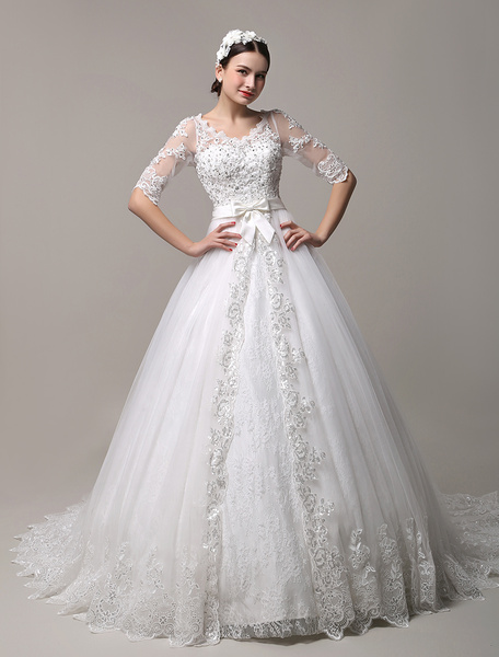 Gorgeous Cathedral Train V-Neck Lace Wedding Dress with Cutout Back Milanoo фото