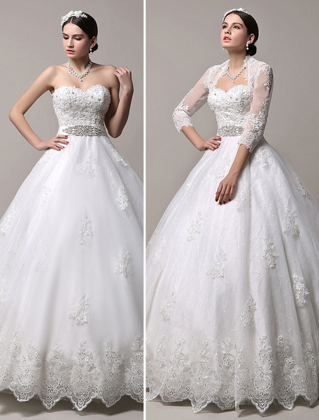 A-Line Brautkleid mit Spitzen-Bolero und einer abnehmbaren Schleppe Milanoo