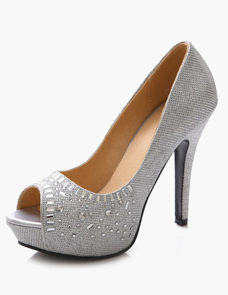 Rhinestones Cloth Peep Toe Shoes фото
