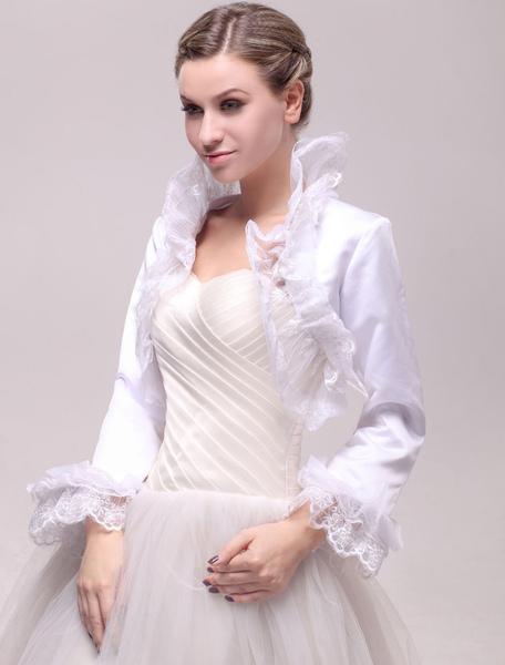 Long Sleeve Wedding Bolero Jacket with Ruffled Lace Trim фото