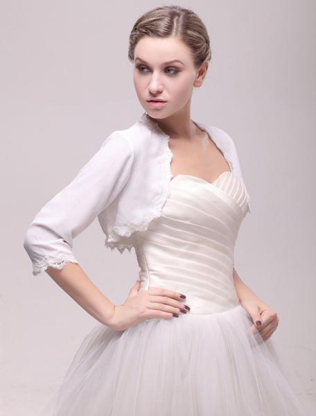 Ivory Half Sleeve Chiffon Wedding Bolero with Lace Trim фото