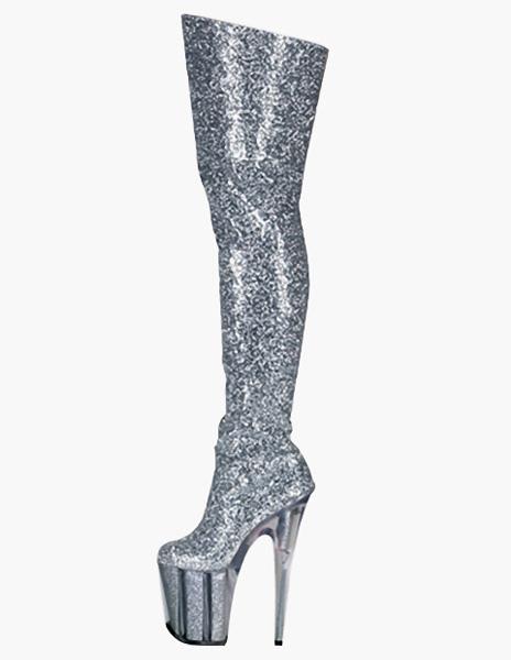 Zipper Sequined Cloth Sexy High Heel Boots фото