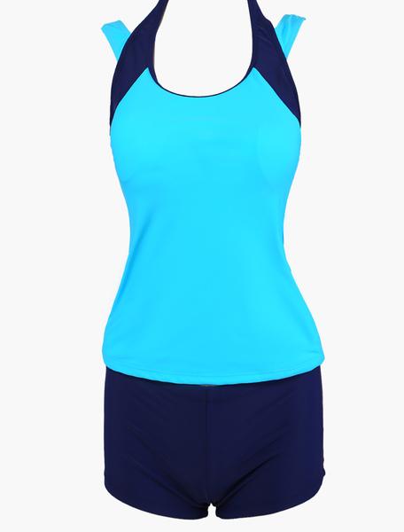 Two-Tone Scoop Neck Slim Fit Tankini Swimsuit фото