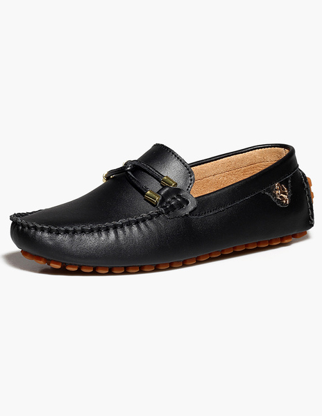 Slip-On Criss-Cross Round Toe Cowhide Loafer Shoes фото