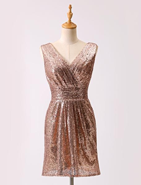 Golden Sequin Deep V-neck Short Sheath Cocktail Dress Milanoo