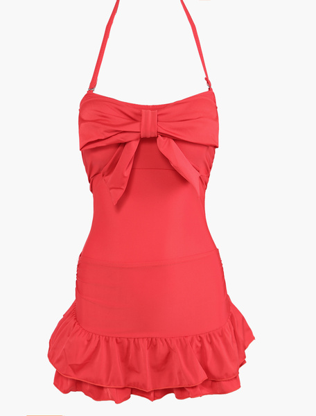 Bows Wireless One Piece Swimwear With Layered Skirt фото