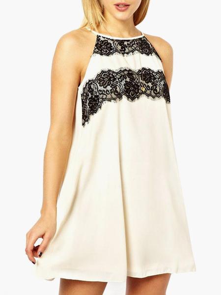 White Chiffon Smock Dress With Lace Trim фото