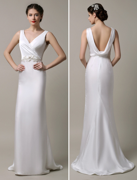 Ivory Satin Deep V-neck and Cowlback With Embellished Sash Wedding Dress фото
