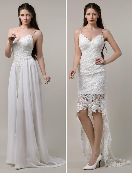 Boho Wedding Dress Sexy Lace Spaghetti Strap Backless High Low Bohemian фото