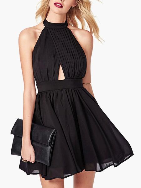 Chiffon Halter Little Black Dress фото