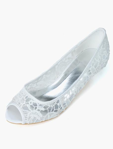 Pretty Lace Cut Out Peep Toe Bridal Pumps фото