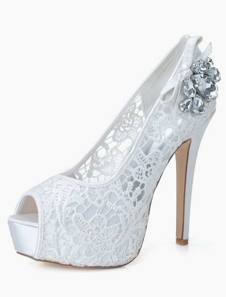 Cut Out Slip-On Peep Toe Lace Evening and Bride's Platforms фото