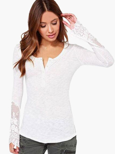 Gray-White Long Sleeves Cotton Blouse With Embroidery Details фото