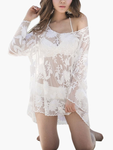 White Oversized Lace High Low Cover Up фото
