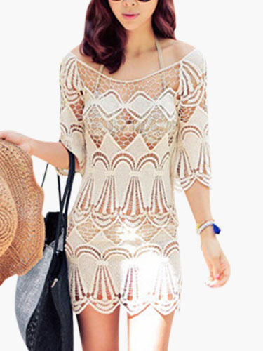 Half Sleeves Semi-Sheer Embroidered Cover Up фото